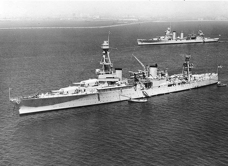"""Тяжелый крейсер """"Хьюстон"""" в Сан-Педро, Калифорния, 18 апреля 1935 г."""