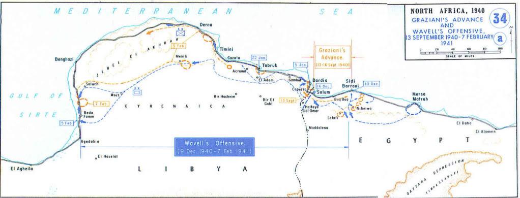 """Операция """"Компас"""", ход боевых действий. Если линейно представить себе маршрут британского корпуса (учитывая задержки в пути), может сложится впечатление, что итальянская армия вообще не оказывала сопротивления британцам."""