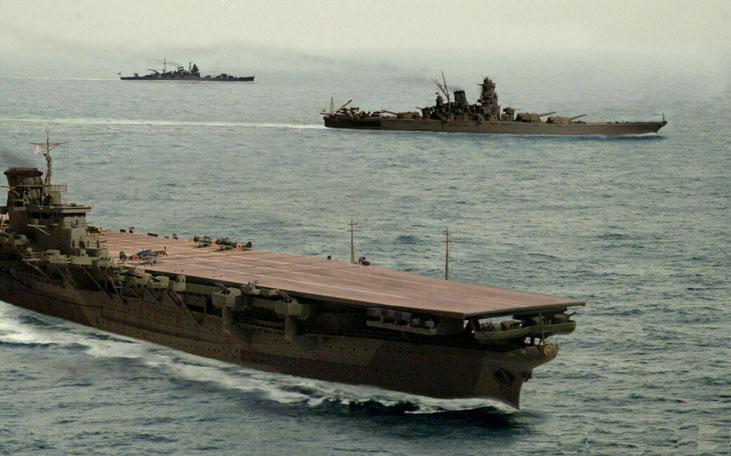 """Художник изобразил """"Синано"""" (впереди) и """"Ямато"""" (сзади) вместе. Видно, что корабли имеют много общего."""