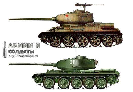 Сравнение Т-34 (сверху) и Т-44 (снизу). Заметно, что последний выглядит намного компактнее.