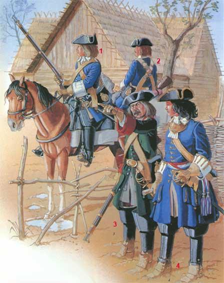 За полтора столетия в мире многое изменилось. Солдаты петровского времени.