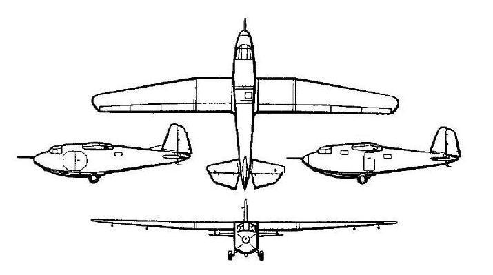 Схема десантного планера Г-11 (Гр-29)
