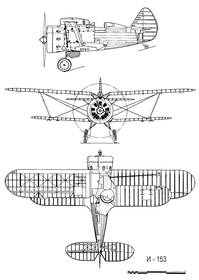 Чертеж истребителя И-153 «Чайка»