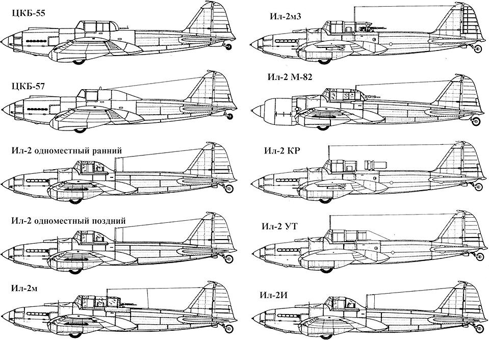 Основные модификации штурмовика Ил-2