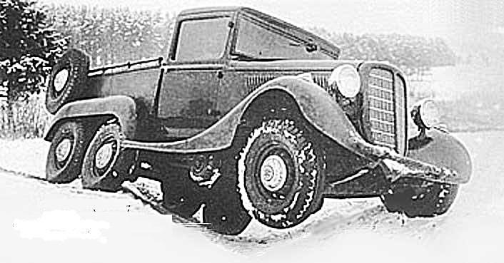 Армейский трехосный вариант ГАЗ-М1 «эмки» на испытаниях