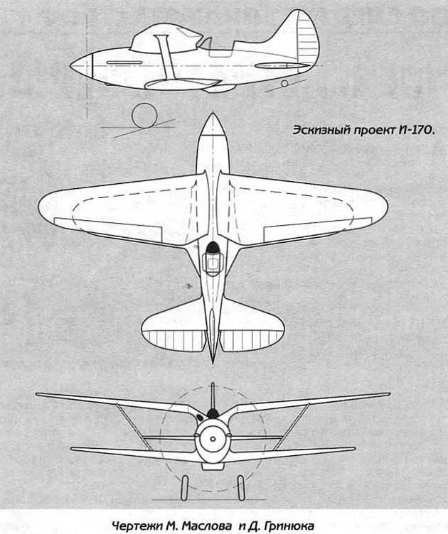 Проект истребителя И-170 на базе И-153 «Чайка»