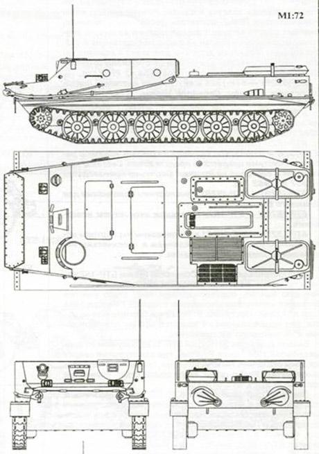 Схематический чертеж бронетранспортера БТР-50