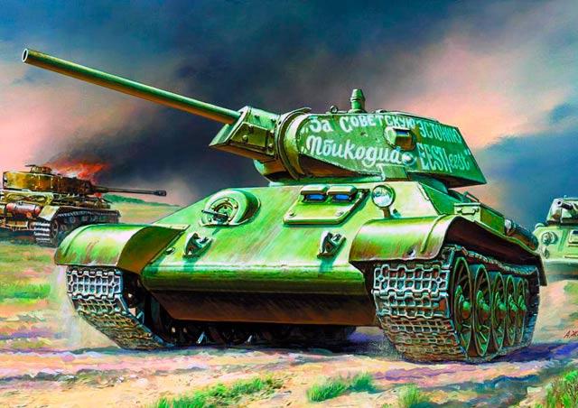 Т-34 образца 1942 года. Обратите внимание на характерную пушку - отличительный признак этой модели