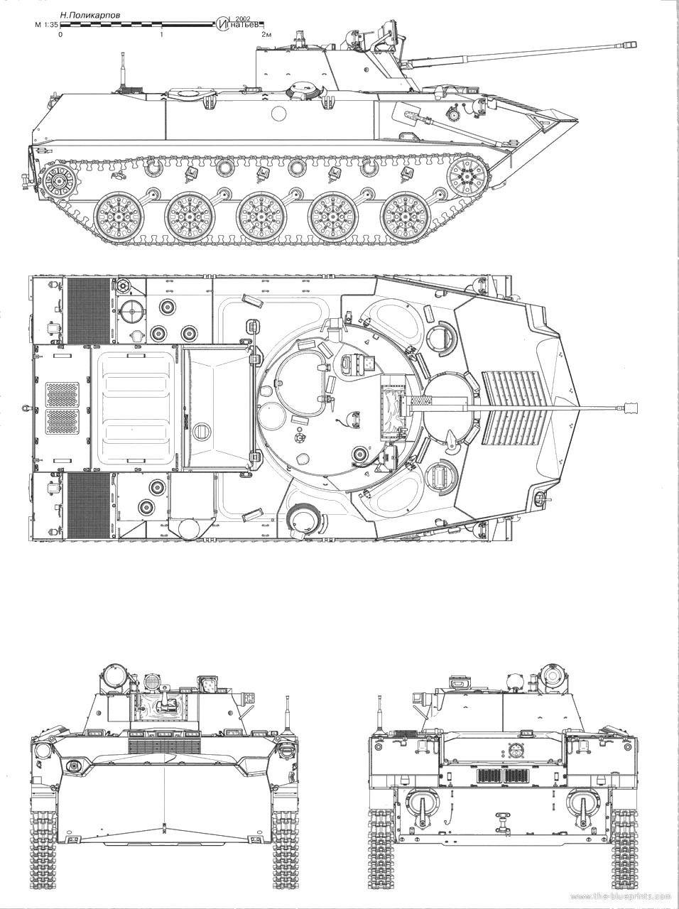 Чертеж боевой машины десанта (БМД-2)