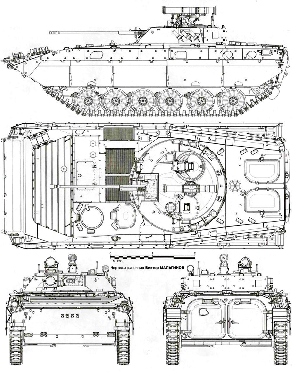 Чертеж боевой машины пехоты - 2 (бмп-2)