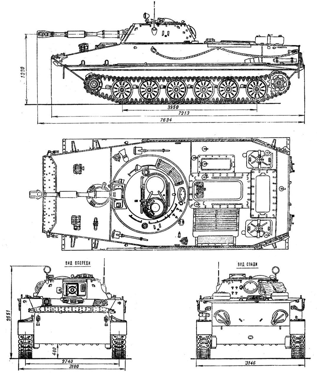 чертеж плавающего танка ПТ-76