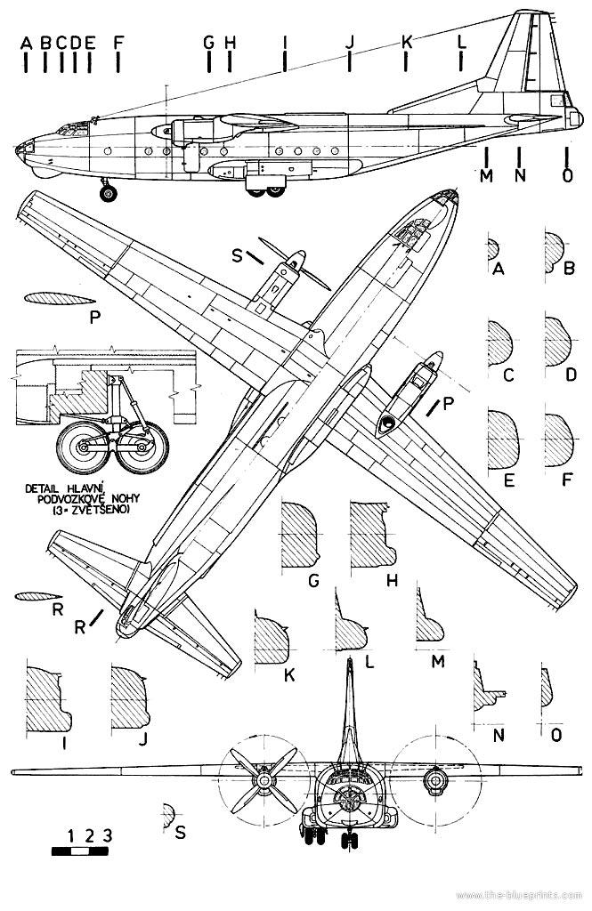 Чертеж военно-транспортного самолета Ан-8