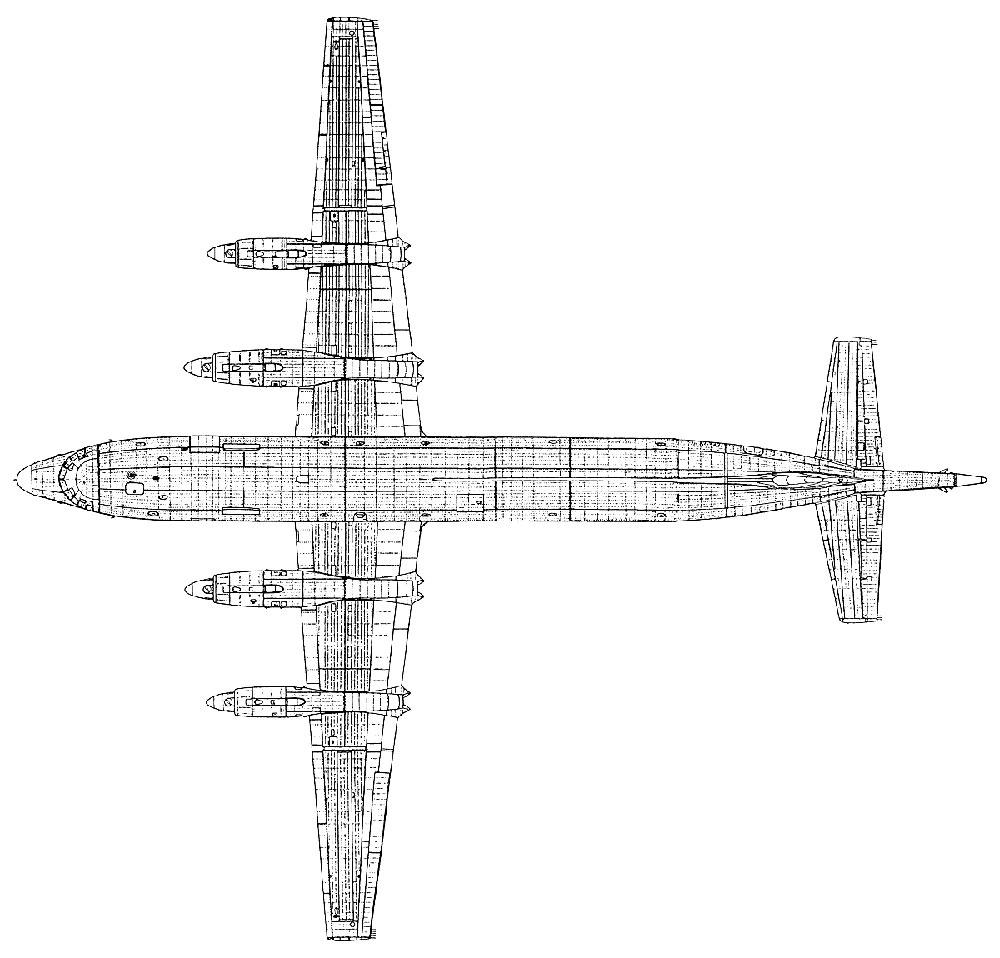 Противолодочный самолет Ил-38, чертеж, вид сверху
