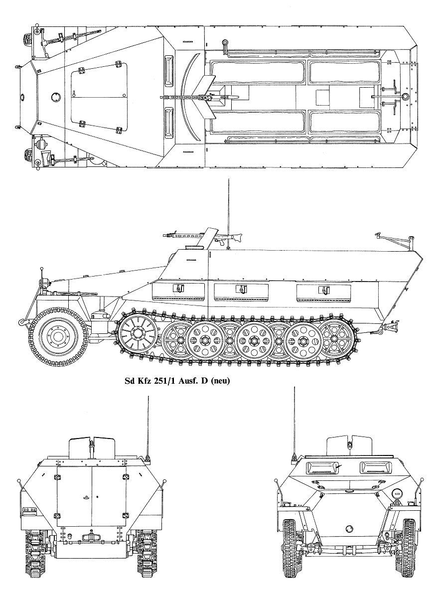 """Чертеж бронетранспортера """"Hanomag"""" Sd.Kfz.251"""