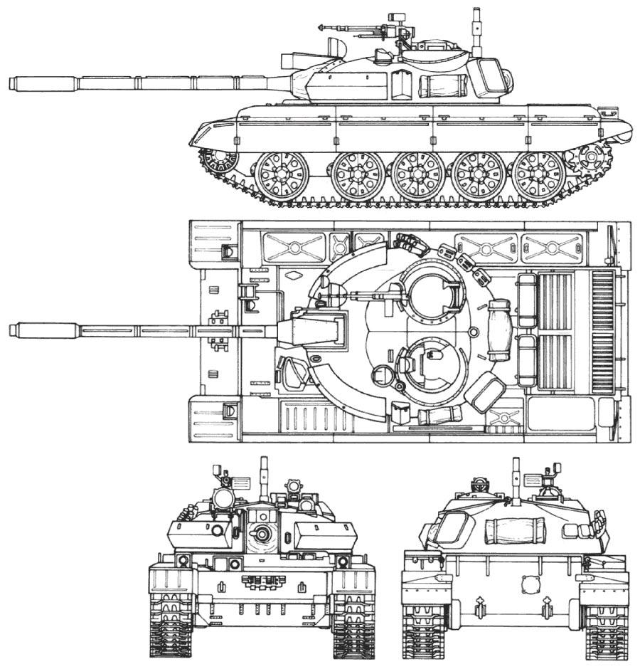 Чертеж среднего танка Т-55