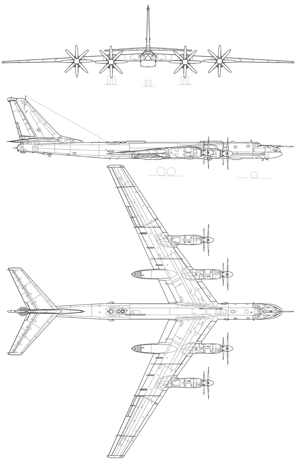 Чертеж стратегического бомбардировщика ТУ-95