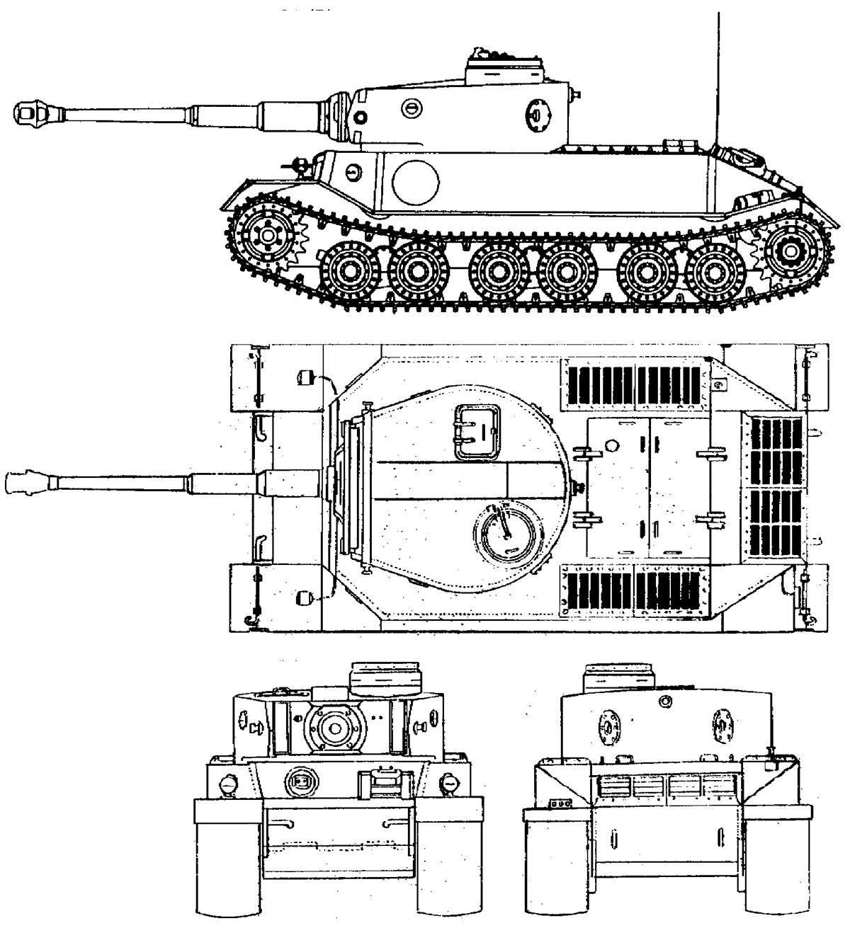 "Чертеж ""Тигра Порше"", прототипа VK4501(P)"