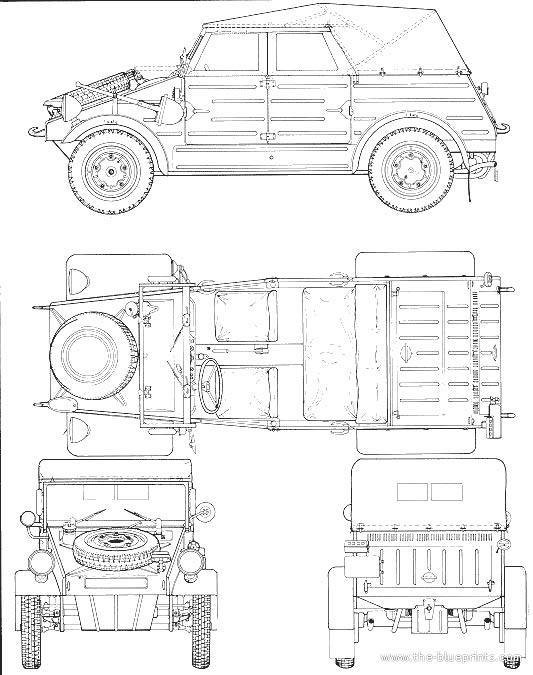 Чертеж автомобиля Volkswagen Тур 82 Kuebelwagen