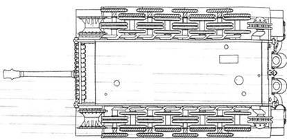 """Схема размещения опорных катков танка Pz VI """"Тигр"""". Крайние, заштрихованные катки снимались при транспортировке"""