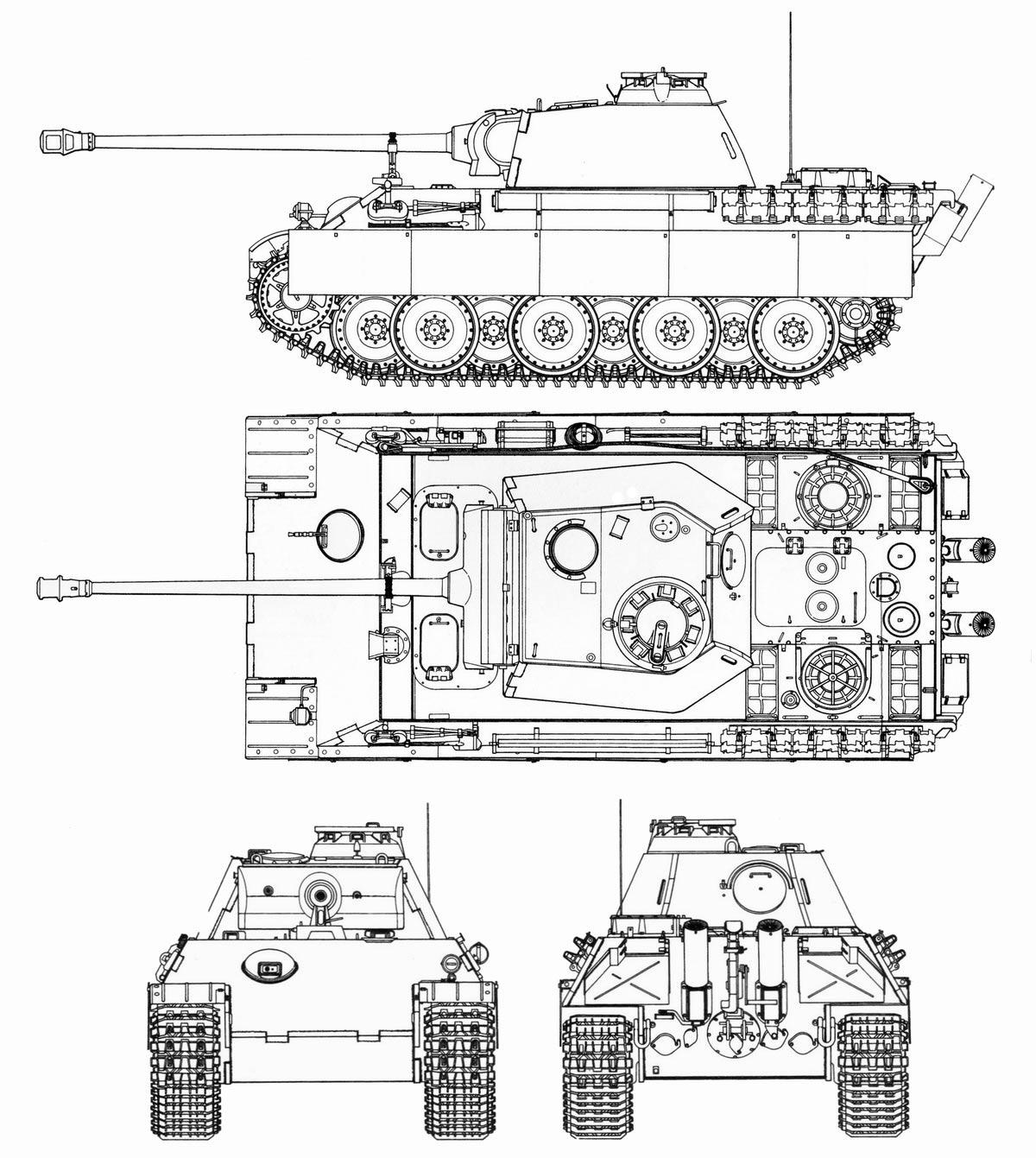 Чертеж тяжелого танкаPz.Kpfw.V «Пантера»