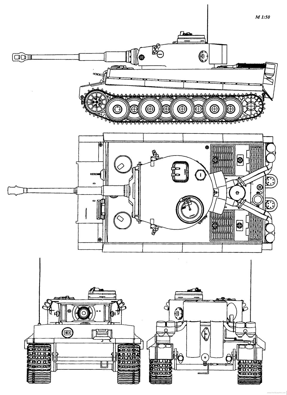 """Чертеж тяжелого танка Pz VI """"Тигр"""""""