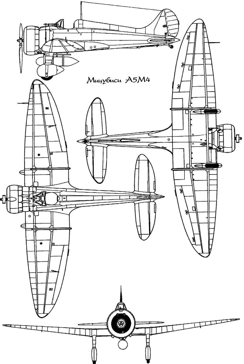 Чертеж истребителя A5M Мицубиси