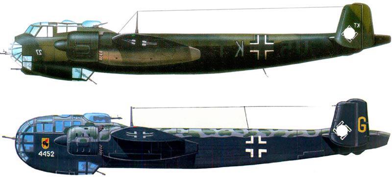 Бомбардировщик Дорнье 217E (вверху) и Дорнье 217K (внизу)