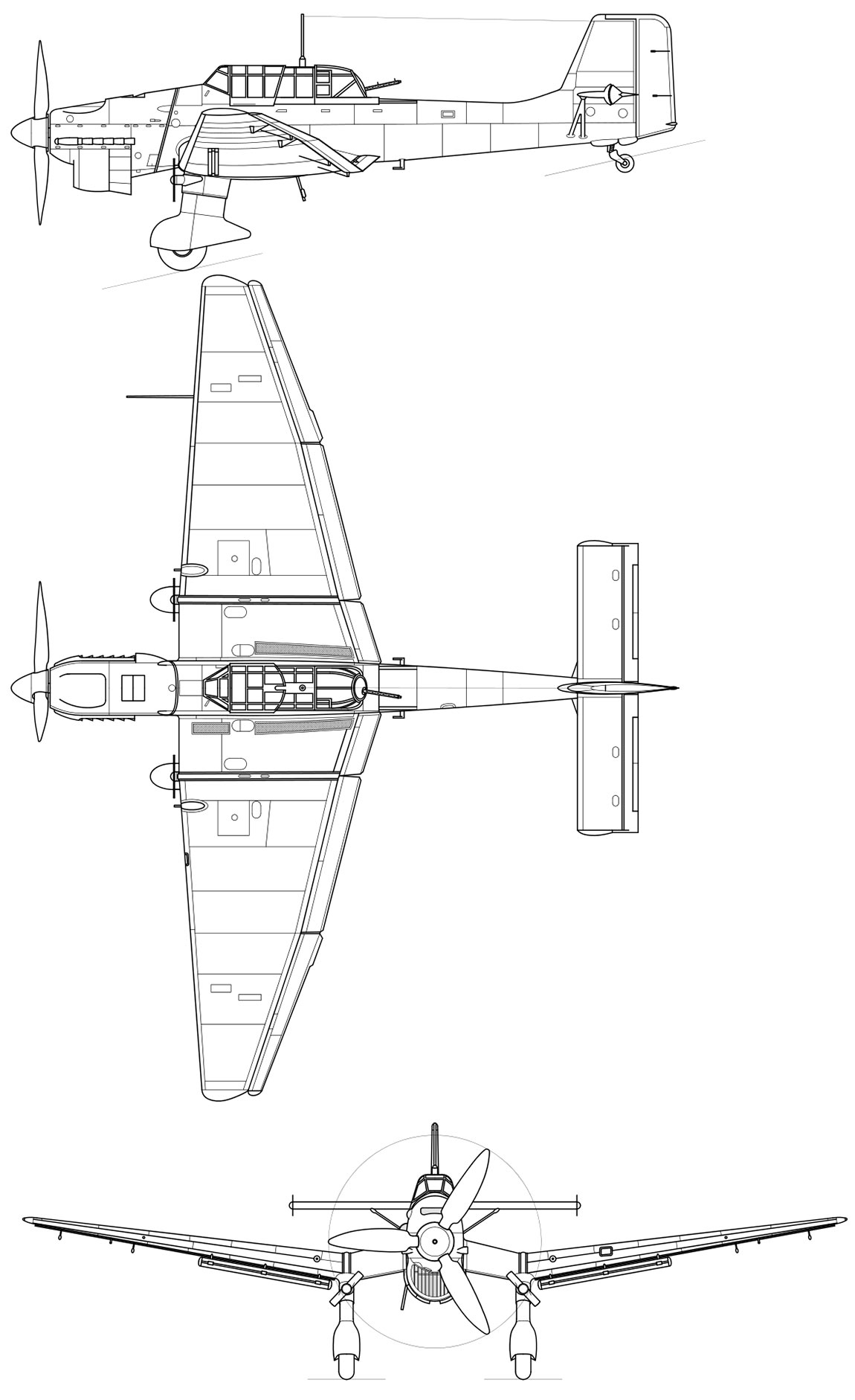 "Чертеж пикирующего бомбардировщика Юнкерс Ju.87 ""Штука"""
