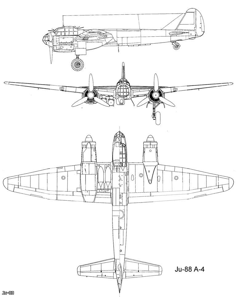 Чертеж бомбардировщика Юнкерс Ju-88