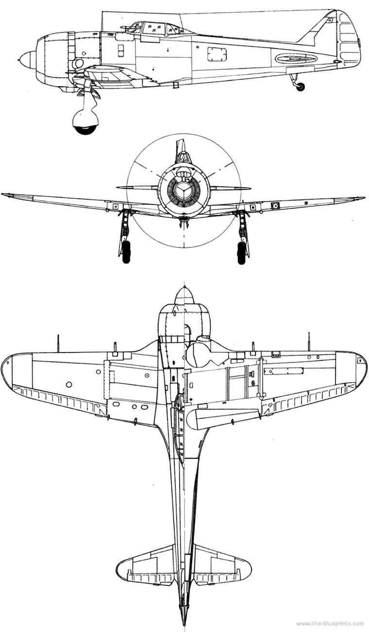 """Чертеж истребителя Ki-84 """"Hayate"""""""