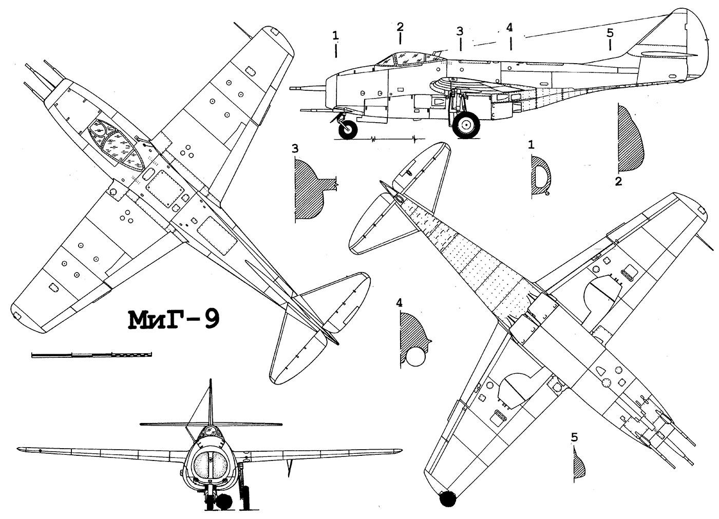 Чертеж истребителя МиГ-9