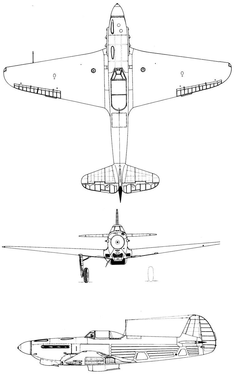 Чертеж истребителя Як-9