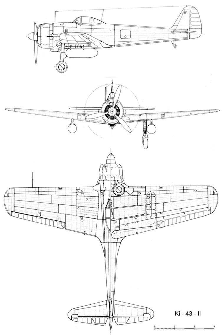 """Чертеж японского истребителя Ki-43 """"Hayabusa"""""""