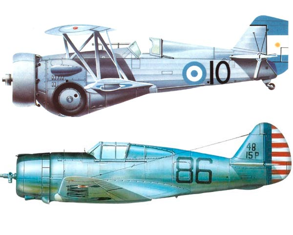 Тайские истребители американского производства Curtiss Hawk III (верхний) и P-36 «Hawk» (нижний)