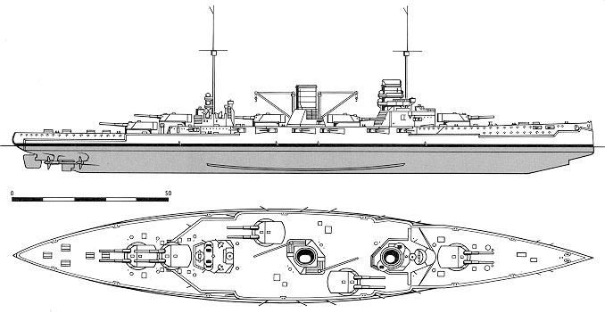 """Схема расположения орудийных башен на крейсере """"Гебен"""""""