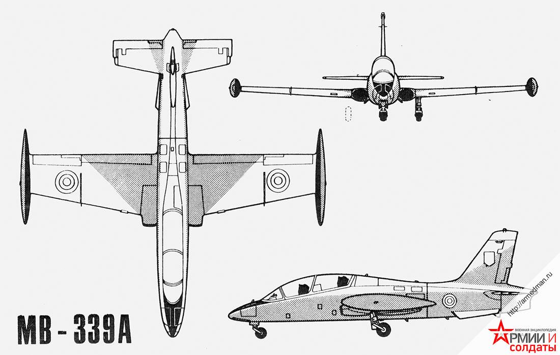 Общи вид легкого штурмовика MB-339 Аэрмакки (Aermacchi )