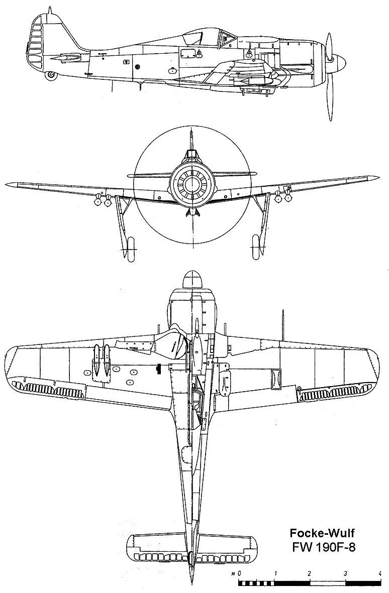 Чертеж истребителя Фокке-Вульф FW-190