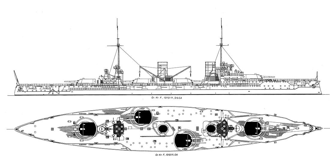 Чертеж линейного крейсера Фон дер Танн
