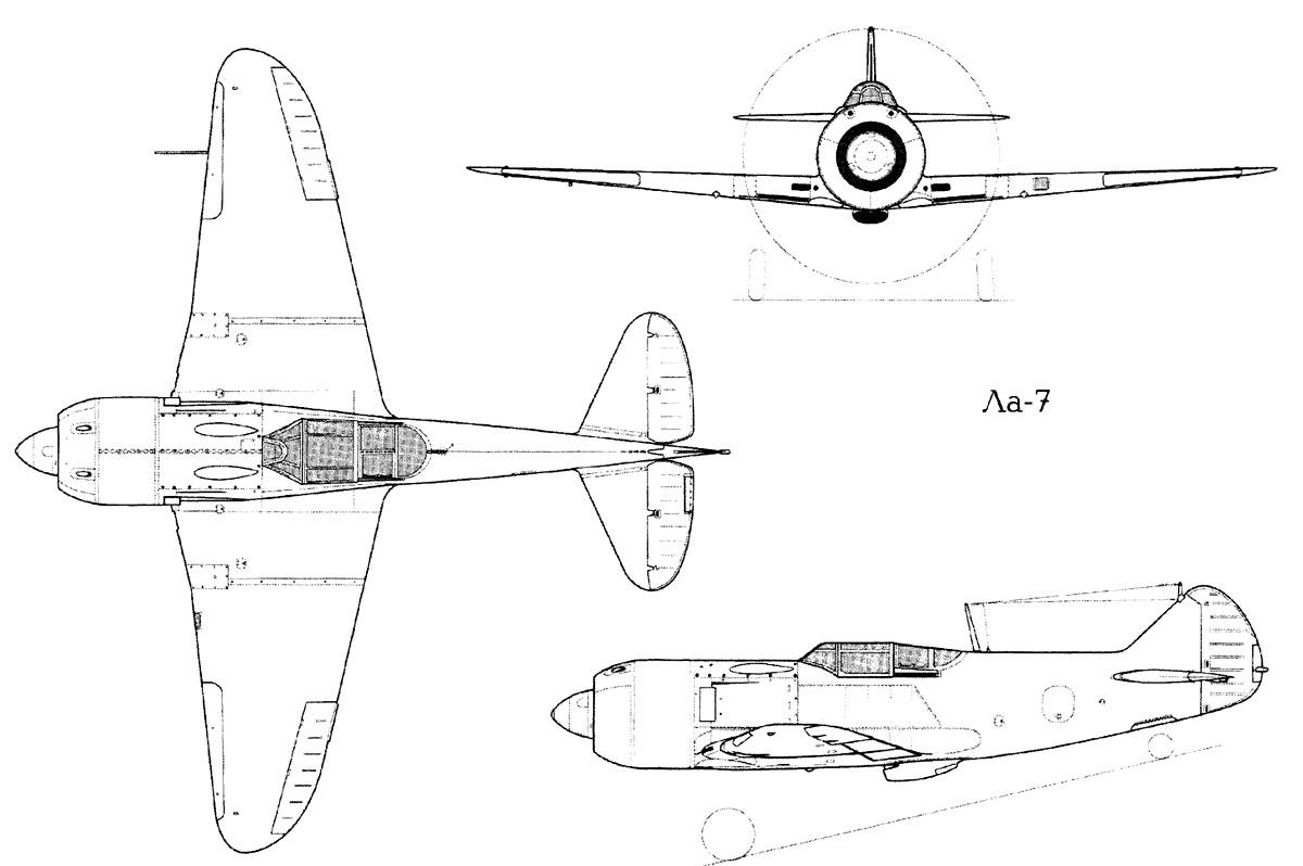 Чертеж истребителя Ла-7