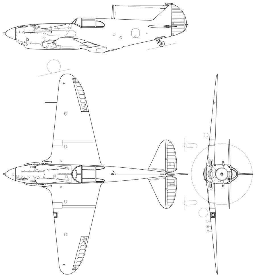 Чертеж истребителя ЛаГГ-3