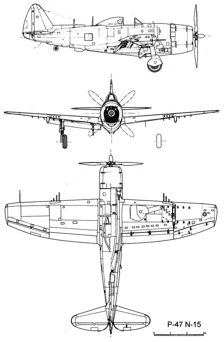 Чертеж истребителя P-47 Тандерболт