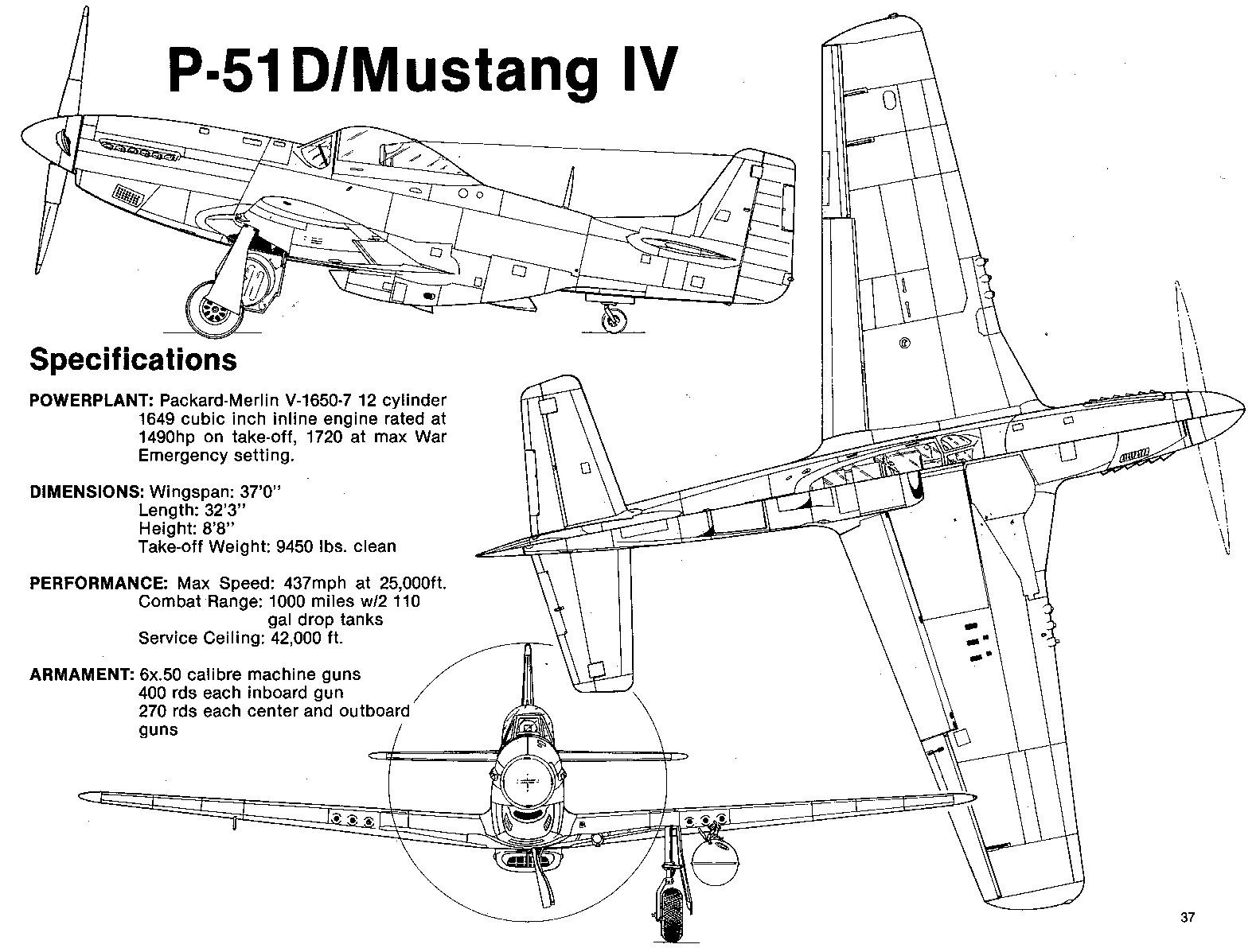 "Чертеж истребителя P-51 ""Мустанг"""