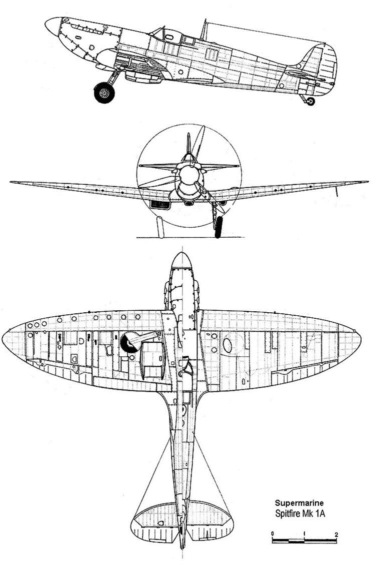 Чертеж истребителя-перехватчика Спитфайр
