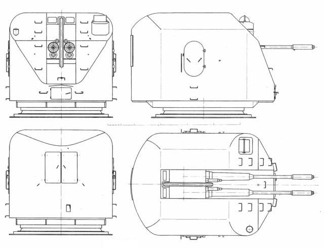 Чертеж 76,2-мм корабельной артиллерийской установки АК-726