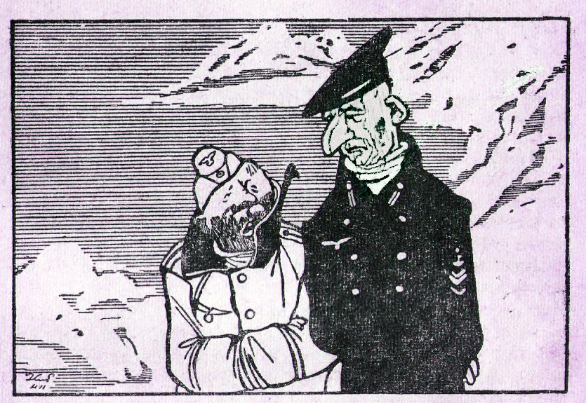 — Холодно вам здесь, на Северном море! — Нет, русские нас непрерывно топят. Рис. К. Елисеева