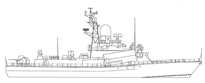 Внешний вид МРК проекта 1234 (МРК-Гроза), рисунок Александра Кузенкова