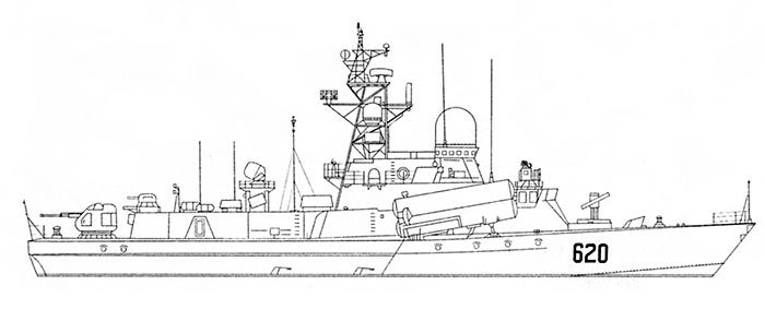 Внешний вид МРК проекта 1234.1 (МРК-Штиль), рисунок Виталия Костриченко