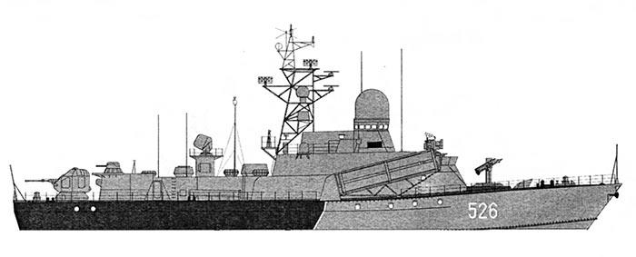 Внешний вид МРК проекта 1234.7 (МРК-Накат), рисунок Анатолия Верстюка