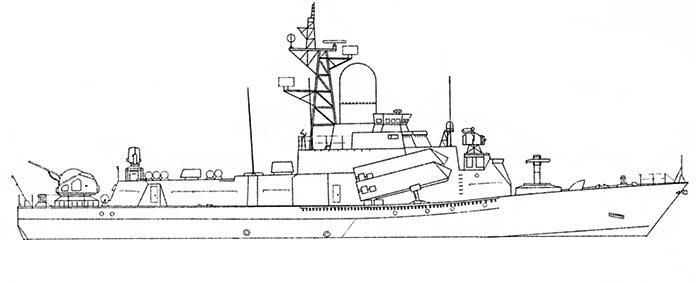 Внешний вид МРК проекта 1234Э (экспортный), рисунок Виталия Костриченко