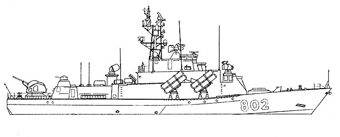 Внешний вид МРК проекта 1234ЭМ, рисунок Виталия Костриченко